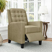 ProLounger Wingback Textured Linen Pushback Recliner - Creamy Tan Oatmeal