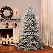 Puleo Royal Majestic 7.5' Fraser Fir Flocked Green Pre-Lit Tree with 600 ct. Clear Lights, Memory Tips, and Sure-Lit Pole