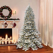 Puleo Royal Majestic 7.5' Douglas Fir Downswept Flocked Pre-Lit Tree with 800 ct. Clear Lights and Sure-Lit Pole