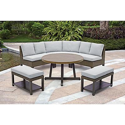 Berkley Jensen Agio Laconia 6 Piece Aluminum Deep Seating Patio Dining Set