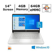 HP 14-fq0057nr Laptop, AMD Athlon Silver 3050U2a Processor, 4GB Memory, 64GB eMMC Storage