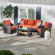 Berkely Jensen Montauk 4PC Conversation Set- Sunset Orange