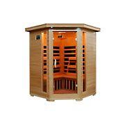 HeatWave Sante Fe 3-Person Hemlock Corner Infrared Sauna with 7 Carbon Heaters