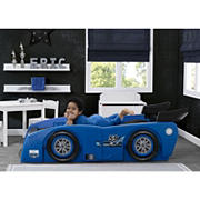 Delta Children Grand Prix Race Car Toddler Twin Bed - Blue
