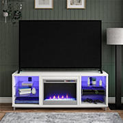 """Ameriwood Home Lumina Fireplace TV Stand for TVs up to 70"""" - White"""