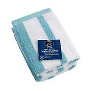 Berkley Jensen Cotton Wash Cloths, 2 pk. - Sea Blue Stripe