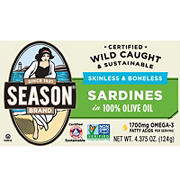 Season Skinless and Boneless Sardines in Pure Olive Oil, 5 ct.