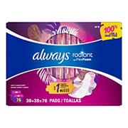 Always Radiant Regular Absorbency Pads with Wings, 76 ct.