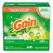Gain Ultra Original Aroma Boost Powder Laundry Detergent, 180 Loads.