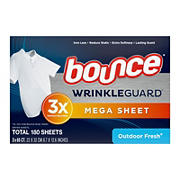 Bounce Outdoor WrinkleGuard Fresh Mega Dryer Sheets, 3pk./180 ct.