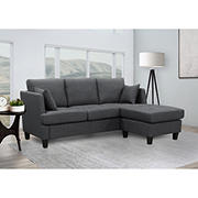 Abbyson Living Hanover Fabric Sectional - Charcoal