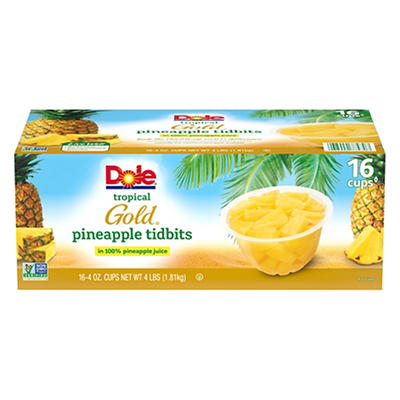 Dole Tropical Gold Premium Pineapple Tidbits, 16 pk./4 oz.