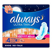 Always Ultra Thin Size 4 Overnight Pads, 80 ct.