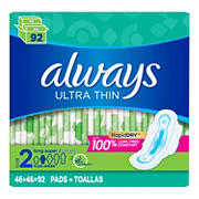 Always Ultra Thin Size 2 Long Super Pads, 92 ct.