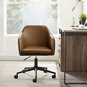 W. Trends Mid Century Modern Barrel Swivel Office Chair - Whiskey Brown