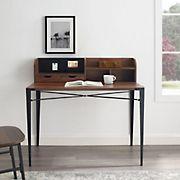 "W. Trends 42"" Urban Industrial Hutch Secretary Desk - Dark Walnut"