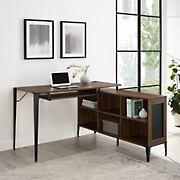 """W. Trends 52"""" Urban Industrial L Computer Desk - Dark Walnut"""