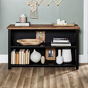 "W. Trends 52"" Farmhouse Wood Bookshelf  - Black"