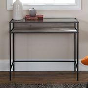 "W. Trends 35"" Modern Glass Top Writing Desk - Gray Wash"