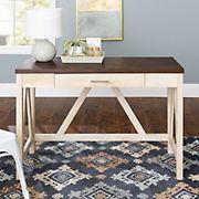 "W. Trends 46"" Rustic Farmhouse Writing Desk - White Oak/Traditional Brown"