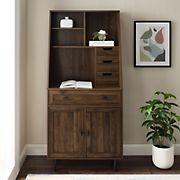 "W. Trends 64"" Modern Hutch Secretary Desk - Dark Walnut"