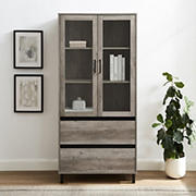 "W. Trends 68"" Modern Glass Door Hutch with Drawers - Gray"