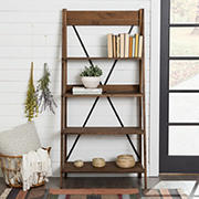 "W. Trends 68"" Industrial Farmhouse Wood Ladder Bookshelf - Brown"