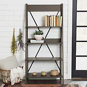 "W. Trends 68"" Industrial Farmhouse Wood Ladder Bookshelf - Gray"