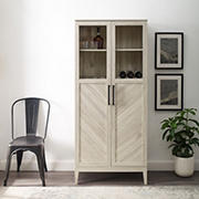 """W. Trends 68"""" Modern Eclectic Closed Storage Bar Cabinet - White"""