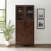 """W. Trends 68"""" Modern Eclectic Closed Storage Bar Cabinet - Brown"""