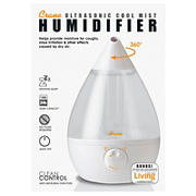 Crane 1-Gal. Drop Ultrasonic Cool Mist Humidifier - Clear/White