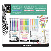 Zebra Art Writing Set Sarasa Clip Gel and Kirarich and Mildliner Markers - Assorted Colors