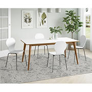 Colman Rectangular Dining Table - White Top and Natural Legs
