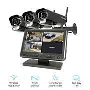 "Defender PHOENIXM2 4-Channel 3-Camera Wireless  Security System with 8G SD Card and 7"" Monitor"
