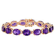 36 ct. t.g.w. Oval-Cut Africa-Amethyst Tennis Bracelet in Rose Gold Plated Sterling Silver