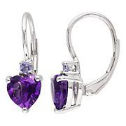 Amethyst and Tanzanite Heart Leverback Earrings in Sterling Silver