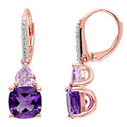 4.33 ct. t.g.w. Amethyst, Rose de France and Diamond Leverback Earrings in Rose Plated Sterling Silver