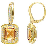 6.6 ct. t.g.w. Citrine, White Topaz and .1 ct. t.w. Diamond Leverback Earrings in Yellow Plated Sterling Silver