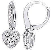 .33 ct. t.w. Diamond Halo Heart Leverback Earrings in Sterling Silver