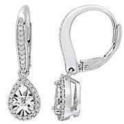 .33 ct. t.w. Diamond Teardrop Leverback Earrings in Sterling Silver