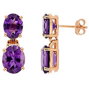 8.1 ct. t.g.w. Oval-Cut Africa-Amethyst Dangle Earrings in Rose Gold Plated Sterling Silver