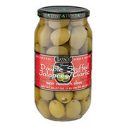 Tassos Double Stuffed Jalapeno and Garlic Olives, 1L