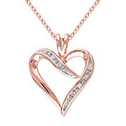 Diamond Heart Pendant with Chain in Pink Plated Sterling Silver