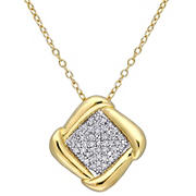 .2 ct. t.d.w. Diamond Halo Pendant with Chain in Yellow Plated Sterling Silver