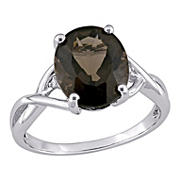 3.75 ct. t.g.w. Oval Cut Smokey Quartz and Diamond Accent Ring in Sterling Silver, Size 6