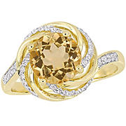 1.88 ct. t.g.w. Citrine White Topaz and Diamond Swirl Ring in Yellow Plated Sterling Silver, Size 7