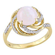 1.38 ct. t.g.w. Opal White Topaz and Diamond Accent Interlaced Swirl Halo Ring in Yellow Plated Sterling Silver, Size 5