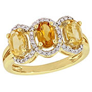 1.33 ct. t.g.w. Oval-Cut Citrine and Madeira Citrine and .2 ct. t.w. Diamond 3-Stone Halo Ring in Yellow plated Sterling Silver