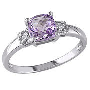 Cushion Cut Amethyst and Diamond Accent Ring in Sterling Silver, Size 5
