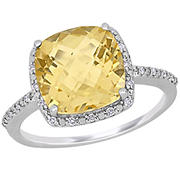 .1 ct. t.w. Diamond and 4 ct. t.g.w. Citrine Halo Ring in Sterling Silver, Size 9